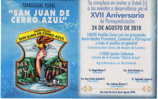 EL GAD PARROQUIAL CERRO AZUL, INVITA CELEBRAR SUS FIESTAS PARROQUIALES.